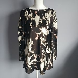 Lafayette 148 Abstract Print Silk Blouse